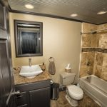 Eagle View Escape rental cabin in Hocking Hills, OH with large tiled bathroom