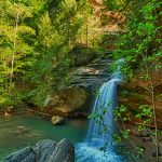 Waterfall in Hocking Hills State Park near Eagle View rental cabins
