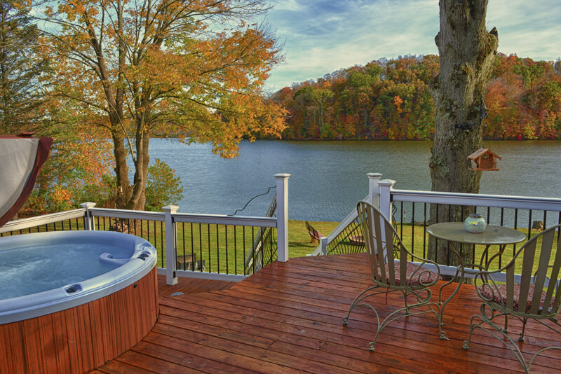 Eagle View Lake House in Hocking Hills, OH rental cabin with big back deck overlooking Lake Logan