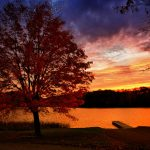 Fall sunset over Lake Logan in Hocking Hills near Eagle View rental cabins