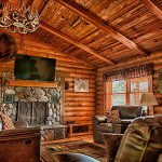 Eagle View Retreat rental cabin in Hocking Hills, OH with living room and fireplace