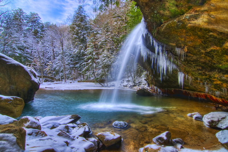 Ash Cave in Hocking Hills, OH at winter near Eagle View rental cabins