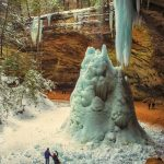 Ash Cave at winter in Hocking Hills State Park near Eagle View rental cabins