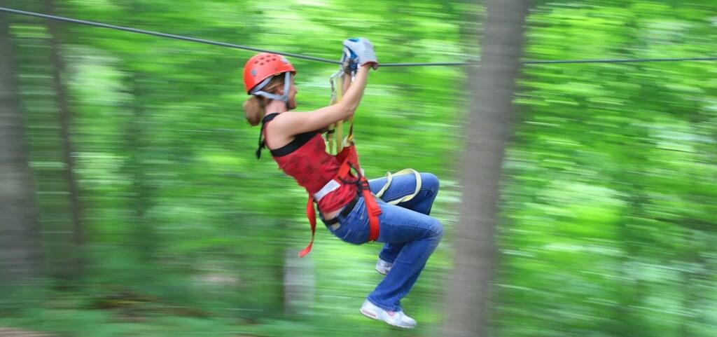 Ziplining through Hocking Hills State Park near Eagle View Rental cabins